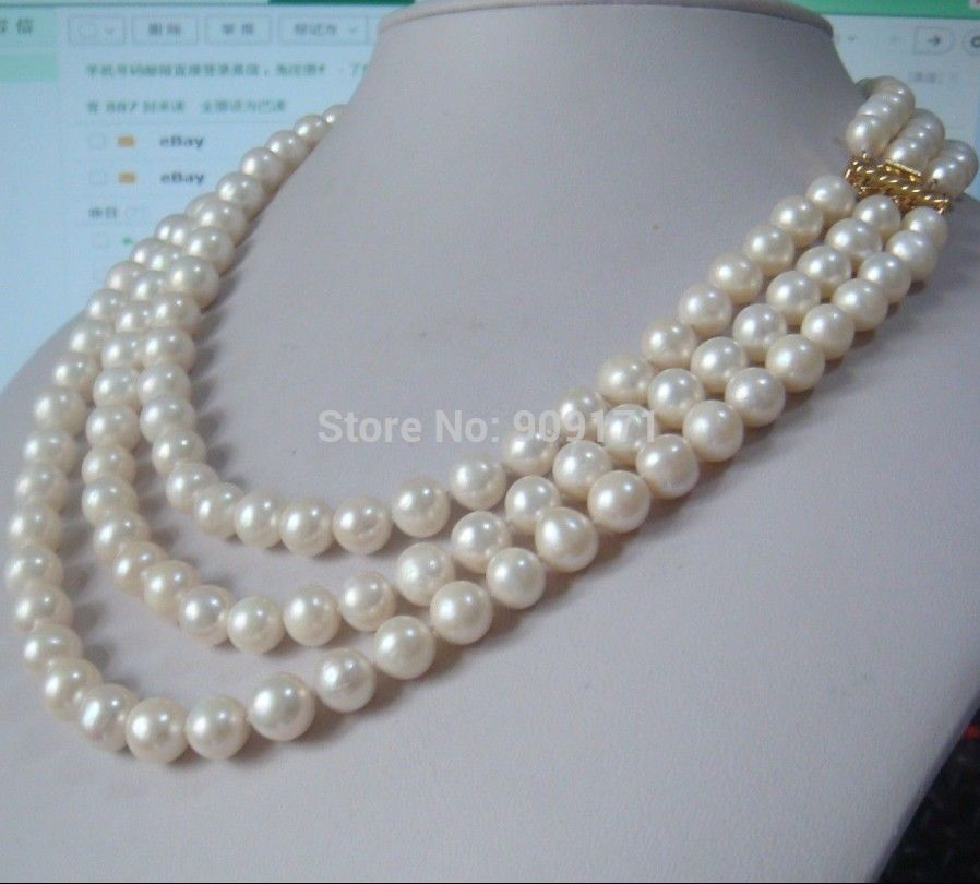 цена на >>triple strands 9-10mm natural Australian south sea white pearl necklace 18 14KGP