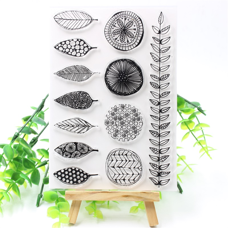 leaves transparent clear silicone stamp for diy scrapbooking photo decorationZJP