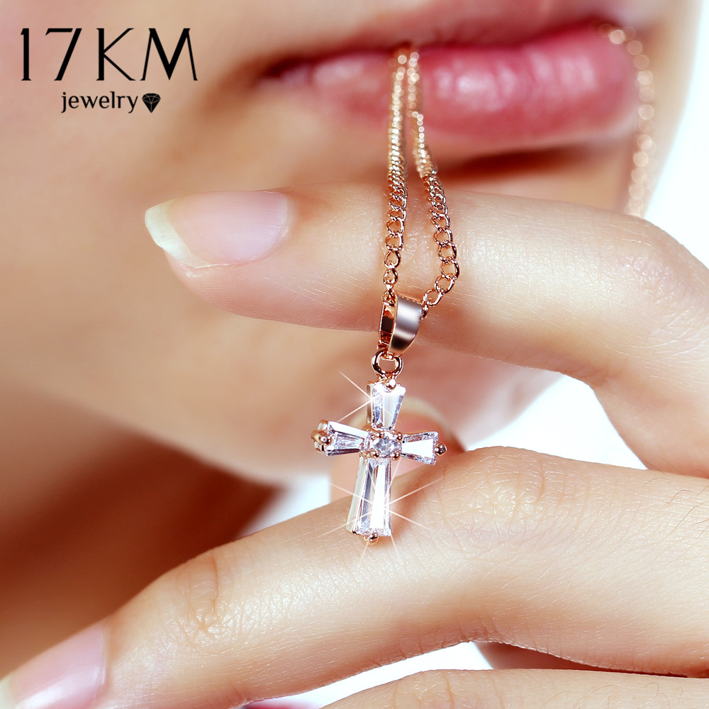 17KM Rose Gold Color Cross Pendant Necklaces For Woman