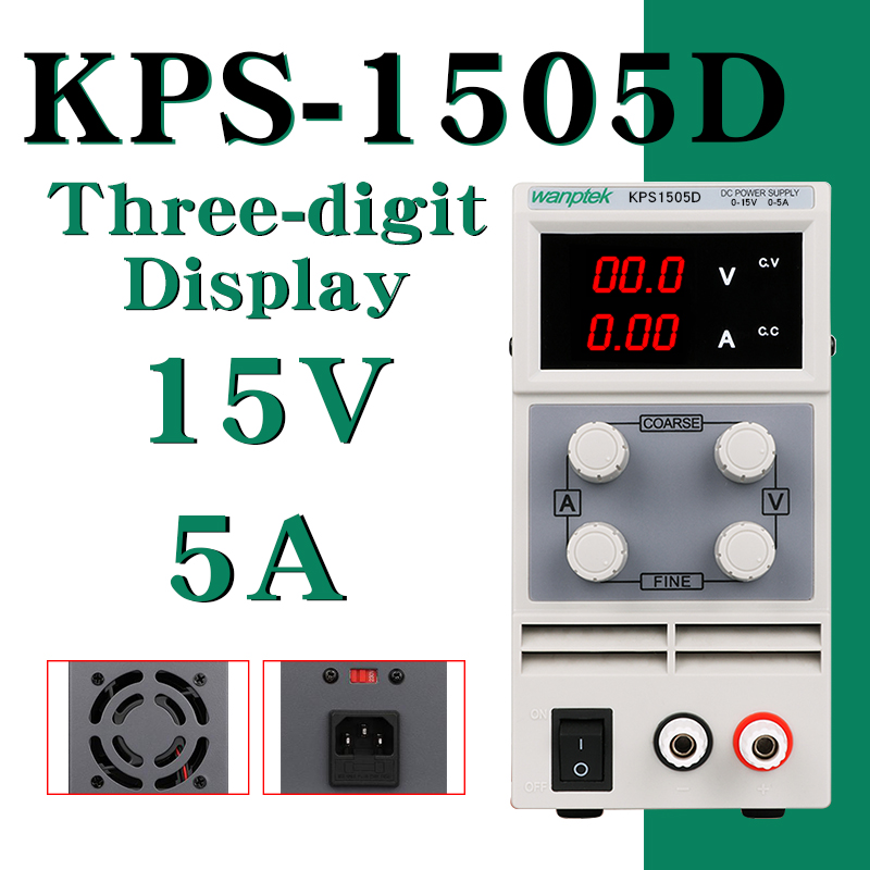 DC Power Supply KPS1505D Variable 15V 5A Adjustable Switching Regulated Power Supply Digital with Alligator Leads