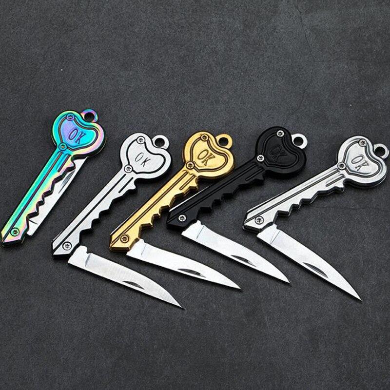 Мини-нож в виде ключа Тактический лагерь Открытый брелок складной открытие Открыватель Карманный Самообороны безопасности многофункциональный инструмент коробка для лезвий