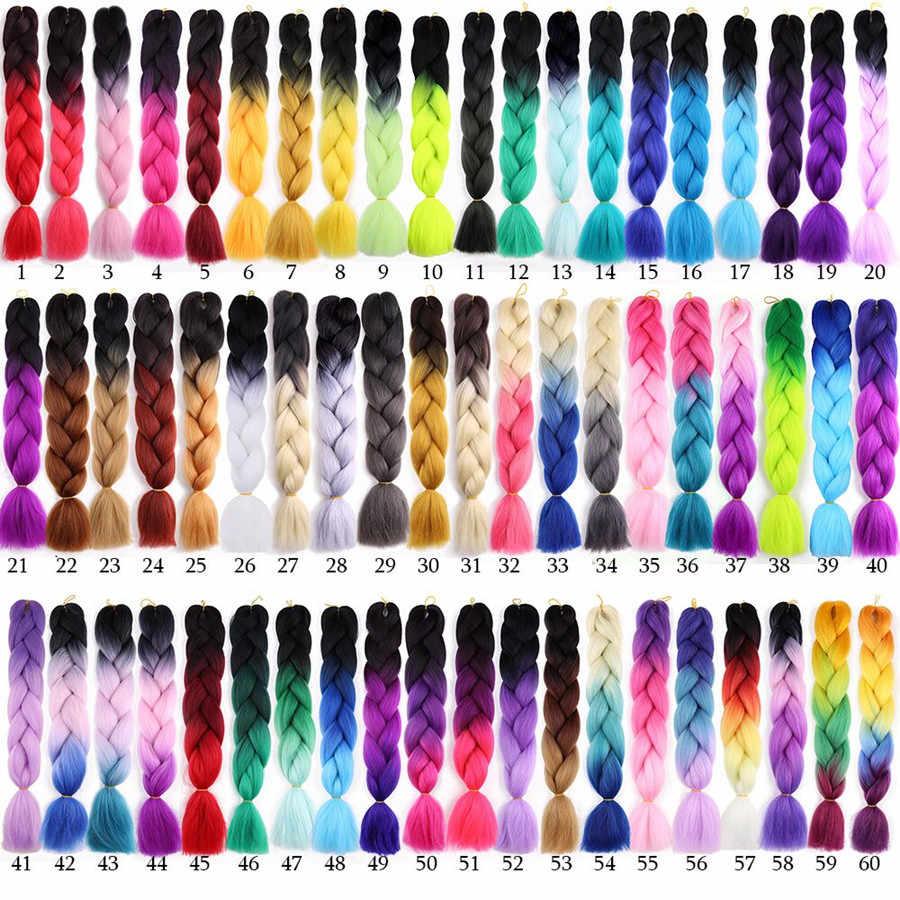 Cabello exposición City 24 Jumbo pulgadas trenzas extensiones de cabello de ganchillo Ombre sintético Crochet trenza pelo rosa púrpura azul gris Color dorado