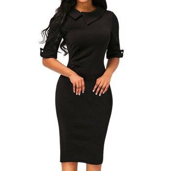 Black Blue Red Wine Navy Fashion Dress Women Retro Bodycon Below Knee Formal Office Dress Pencil Dress With Back Zipper A30  short dresses office wear