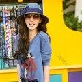 Chic Mujeres Niñas Color Blocking Bowknot Sol Casquillo de la Playa sombrero de Paja Sombrero de Verano Envío de La Gota y Envío