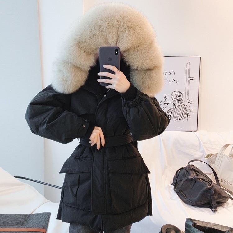 Hooded Fur Collar Winter   Down     Coat   Jacket Thick Warm Women Casaco Feminino Abrigos Mujer Invierno Adjustable Waist Parkas YR10