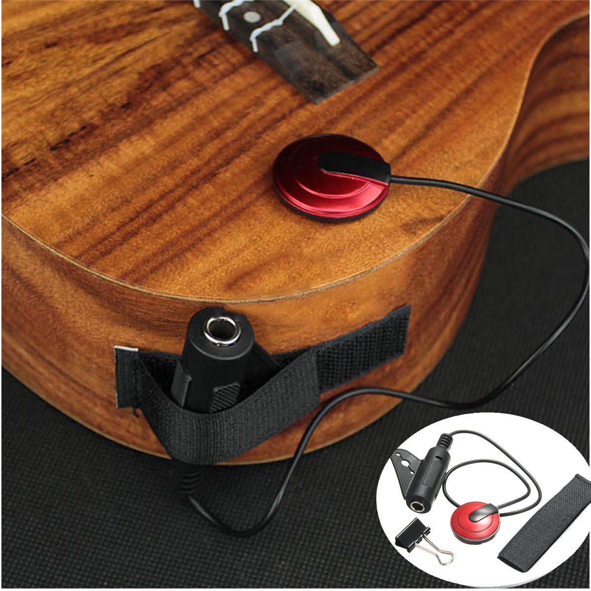 New Piezo Clip On Microphone Pickup for Acoustic Guitar Violin Mandolin Ukulele