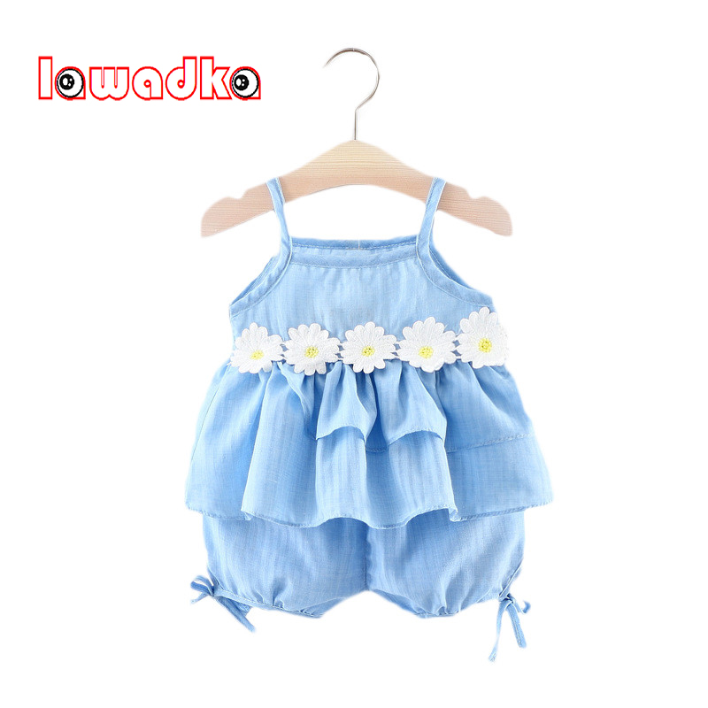 Lawadka Baby Clothing Sets Sleeveless T Shirt + Short Pants Girl Cotton Flower Baby Girls Clothes Sets Summer Style