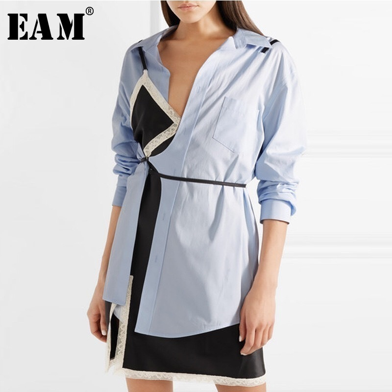 [EAM] 2018 New Summer Lapel Long Sleeve Lace Split Joint Loose Sexy Bandage Pocket Two Piece Shirt Women Fashion Tide JF669