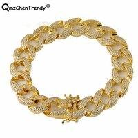 New 2018 15MM Mens Iced Out Zircon Miami Cuban Link Bracelet Gold Charm Copper Material Lab Luxury Box Clasp Women CZ Bracelets
