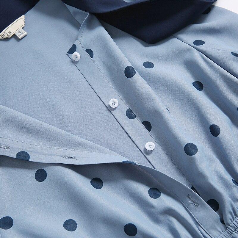 Femmes vague point robe offre spéciale à manches longues patchwork a-ligne courte robe décontracté femmes printemps été robes - 2