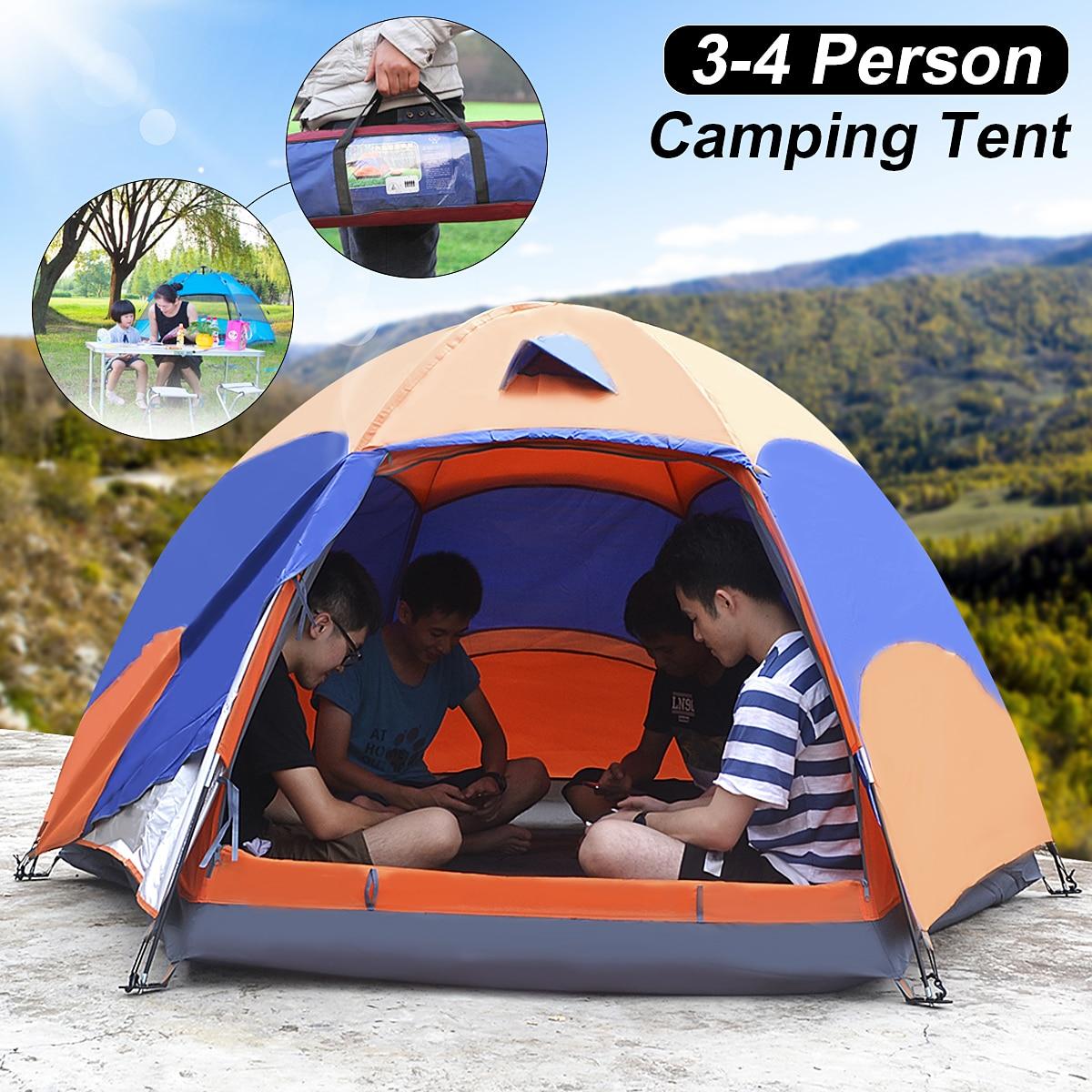 SGODDE 3-4 Personne Instantané de La Famille Tente Double Couche Randonnée Camping En Plein Air Étanche NOUS Sport Camping Randonnée Voyage Plage