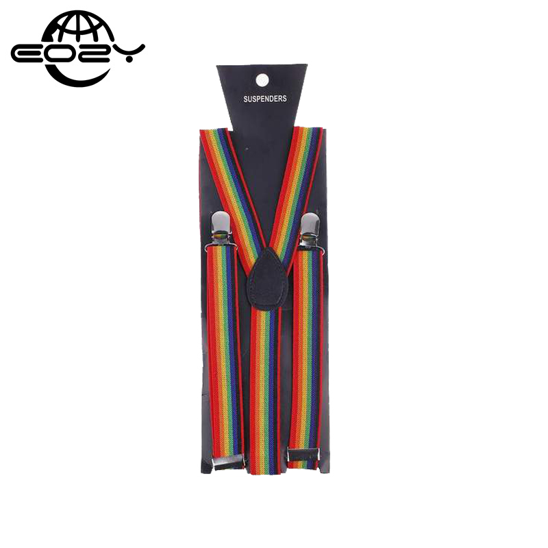 5PCS/Lot Fashion Braces Suspenders Elastic Fabric Clip-on Belt Neon Rainbow Pattern Band DCE11
