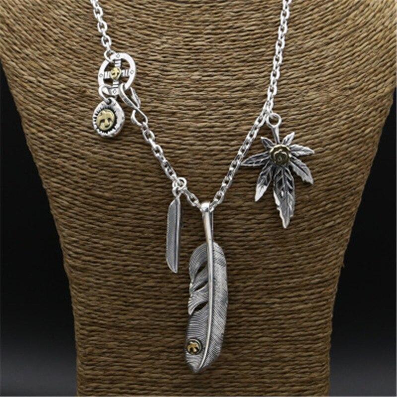 100% réel 925 collier en argent Sterling hommes Vintage plume pendentif à breloque Designer bijoux pour hommes femmes boîte-cadeau gratuite