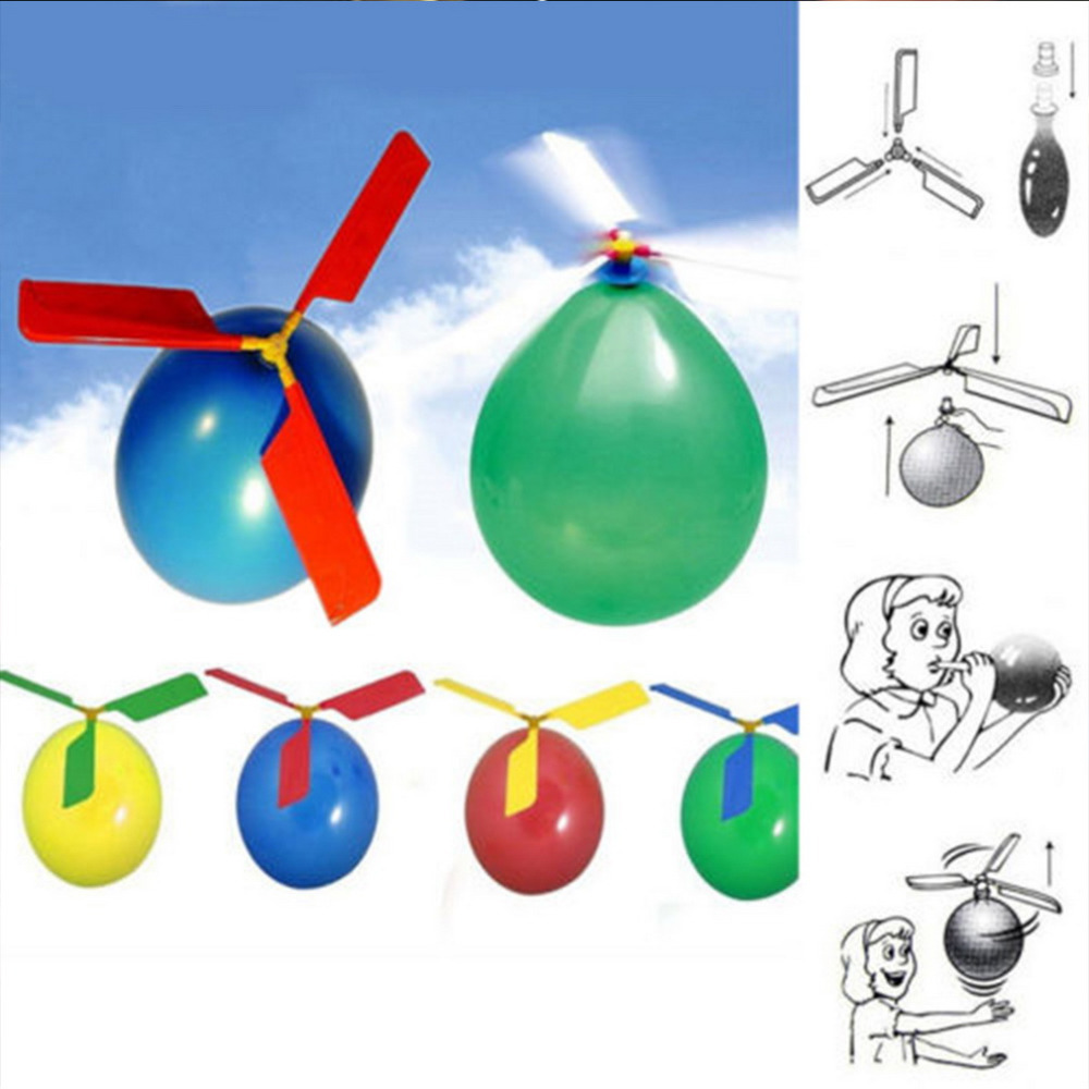 OCDAY 1pc Funny Balloon Helicopter Flying Outdoor Playing Educational Kids Toys New Arrival