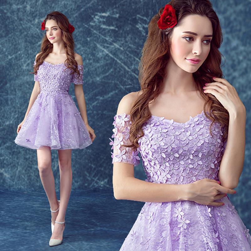 Short purple cocktail dress lace appliques bandage off the shoulder boat  neck mini party dress 994207177