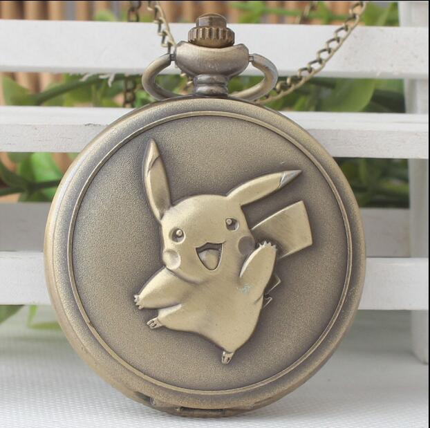 Mooi Vintage Brons Verhouding Van De Cartoon Pokemon Card Mound Flip Klok Leuke Ketting Pocket Horloges Qw018