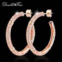 Двойные Роскошные брендовые серьги-гвоздики с кубическим цирконием, розовое золото, модные женские серьги с кристаллами DFE617