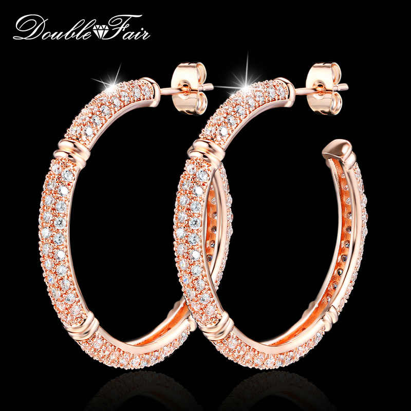 Double Fair Brand Luxury Cubic Zirconia Big Stud Earrings Rose Gold Color Fashion Crystal Drop Jewelry For Women Brincos DFE617
