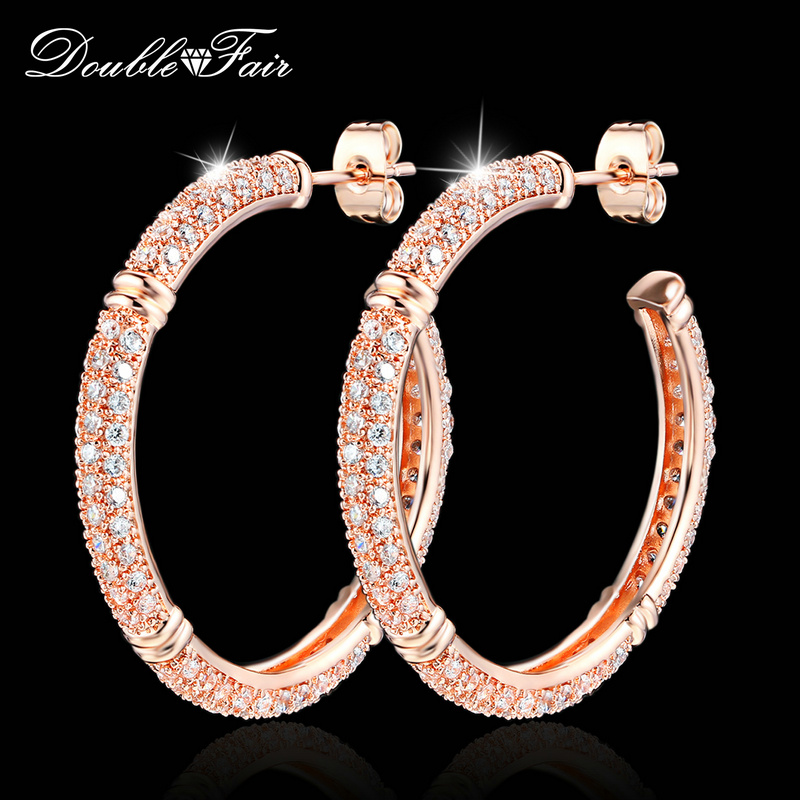 Double Fair Brand Luxury Cubic Zirconia Big Stud Earrings Rose Gold Color Fashion Crystal Drop Jewelry For Women Brincos DFE617 цена
