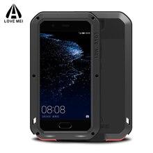Любовь Мэй Роскошный Huawei P10 случае Панцири Алюминий Металл противоударный Dropproof + гориллы Стекло бренд для Huawei P10 чехол coque