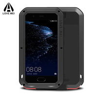 For Huawei P10 Case Waterproof Shockproof Gorilla Glass Brand Luxury Aluminum Metal Frame Armor Cover For