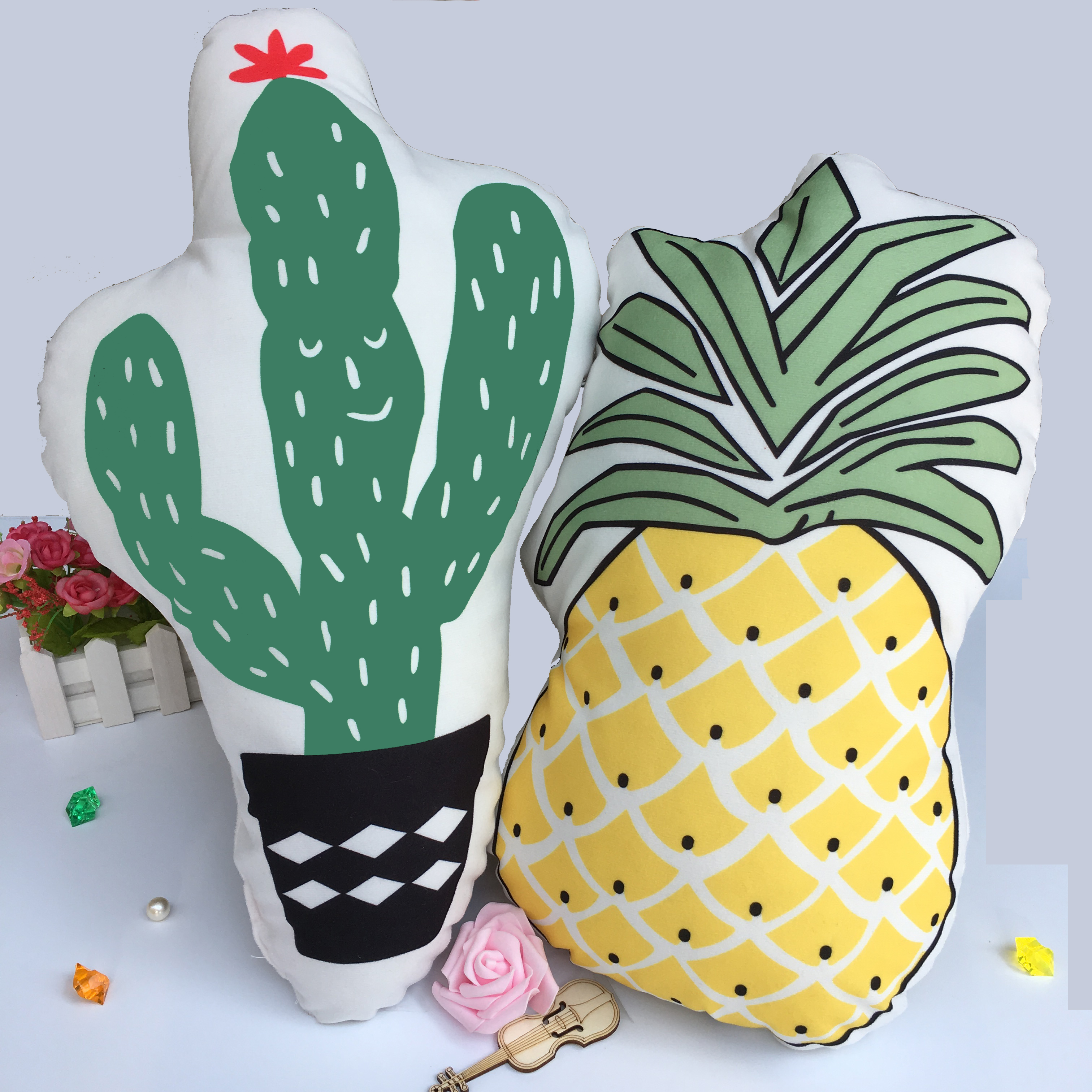 Cute Cactus/pineapple Soft Appease Baby Pillow Home Decor Baby's Room Bedroom/Sofa Cushions Photography Props Bedding Stuffed