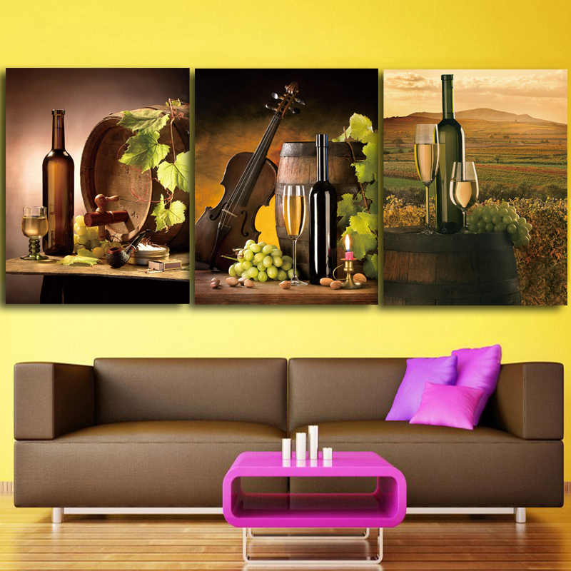 Canvas Paintings Kitchen Wall Art Framework 3 Pieces Wine Glass Oak ...