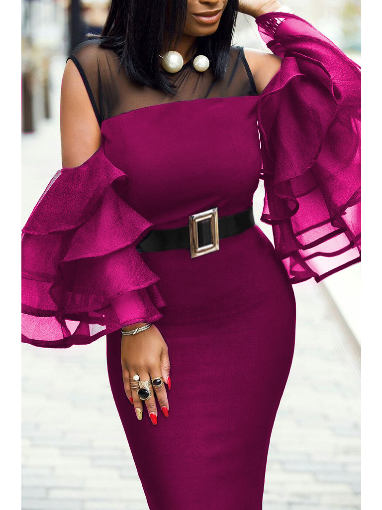Black Bodycon Midi Dress Women Summer Mesh Ruffle Sleeve Vintage Elegant Office Party Slim Female High Waist Split Sexy Dresses