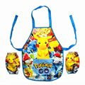Kids Baby Pokemon Go Game Pikachu Cartoon Apron With Sleeves Home Travel Set for Childrens Kids GIFTS