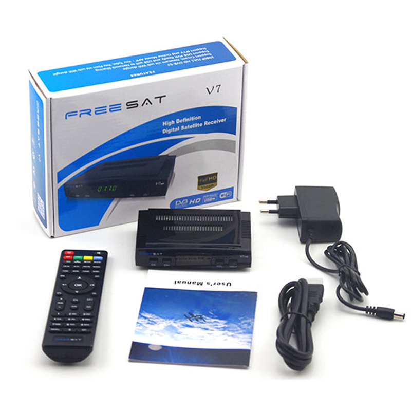Youtube free video DVB-S2 1080p full hd satellite receiver freesat V7 set top box with WIFI FREESAT V7 Satellite Receiver [genuine] freesat v7 dvb s2 hd with usb wifi satellite tv receiver support powervu biss key cccamd youtube youporn set top box