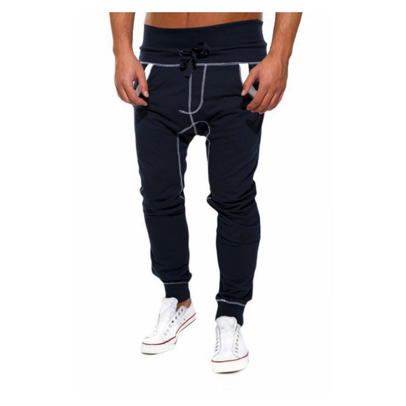 2017 Autumn Winter Mens Joggers Casual Pants Personality Diagonal Zipper Spell Color Sli ...