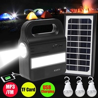 Smuxi 1Set Solar Lighting System Generator USB Charging Rechargeable Lamp MP3/FM Camping Power Supply With 1xSolar Panel 3xBulb