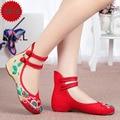 Мода Вышивка Китайский Стиль Красный Синий Черный Женская Обувь Высокого Качества Холст Обувь Высота Увеличение 3 СМ Zapatos mujer A221