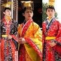 Красный / желтый / черный китайский традиционный хан одежда дракон император принц показать косплей костюм одеяние костюм министр древний костюм