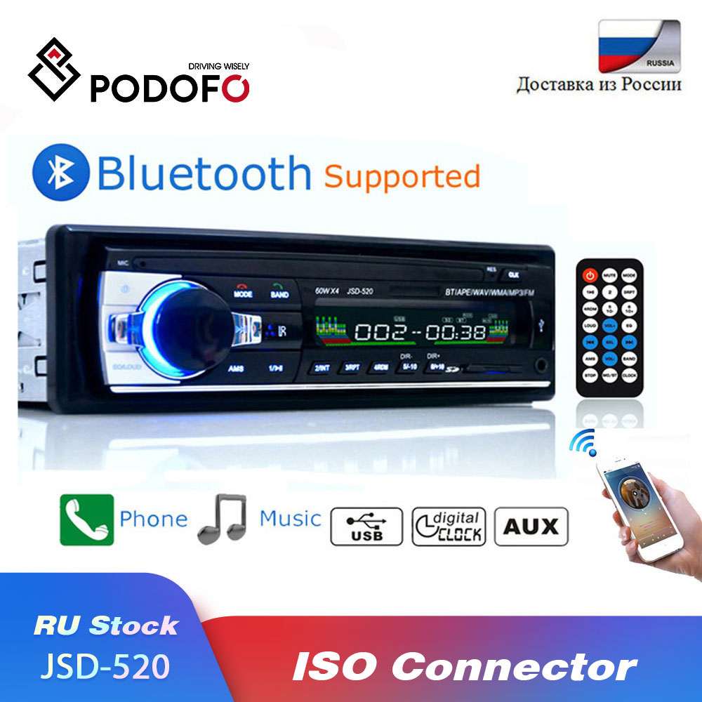 Podofo Bluetooth Авторадио Стерео радио FM Aux вход приемник SD USB JSD-520 12V In-dash 1 din Автомобильный MP3 USB мультимедийный плеер