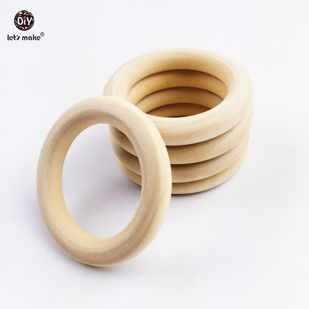 Let's Make Teething Wooden Rings 50pcs 70*10mm More Size DIY Accessories Rund Natural Wood Rings Can Chew BPA Free Baby Teether