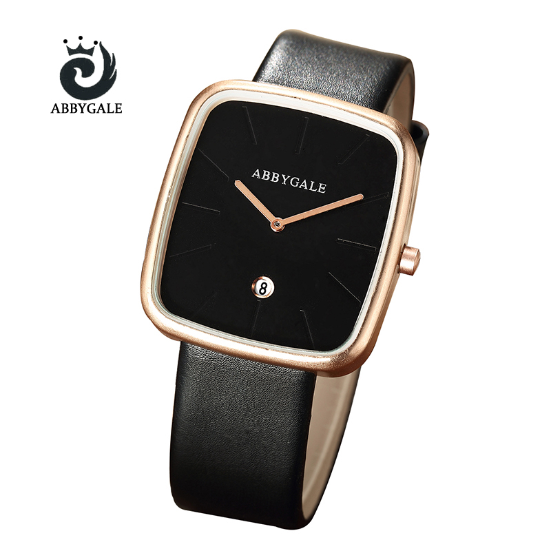 Fashion Creative ABBYGALE Elegant Casual Women's Watch Square Rose Golden Case Quartz watches Analog Ladies Watch lover's watch