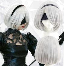 Peruca de cosplay yorha no.2 tipo b 2 bhorh 2a 9 s 2b mais: perucas de jogo de fantasia de automata trajes de cabelo + touca de peruca