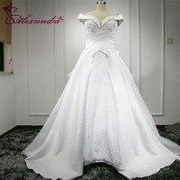 Vestido De Noiva Gorgeous Ball Gown Wedding Dresses Sweetheart Appliques Beading Off The Shoulder Bride Dresses