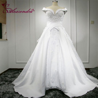 Vestido De Noiva Gorgeous Ball Gown Wedding Dresses Sweetheart Appliques Beading Off The Shoulder Bride Dresses
