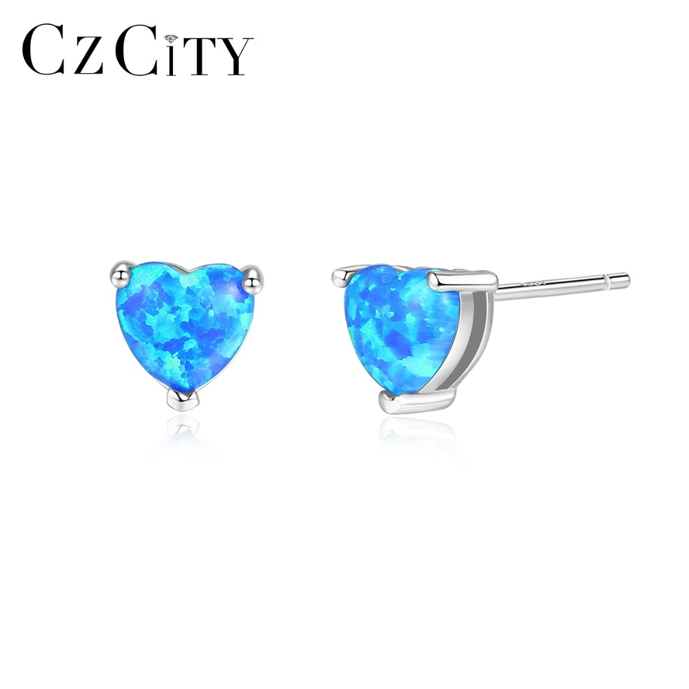 CZCITY Authentic 925 Sterling Silver 6mm Love Heart Fire Opal Stud Earrings for Women Colorful Charming Wedding Earrings JewelryCZCITY Authentic 925 Sterling Silver 6mm Love Heart Fire Opal Stud Earrings for Women Colorful Charming Wedding Earrings Jewelry
