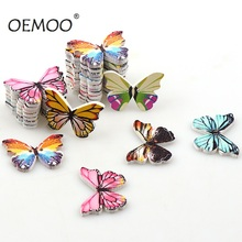 50PCS 2 Holes Colorful Butterfly Wooden Buttons Fit Sewing and Scrapbooking 20*29mm For Craft DIY Mixed