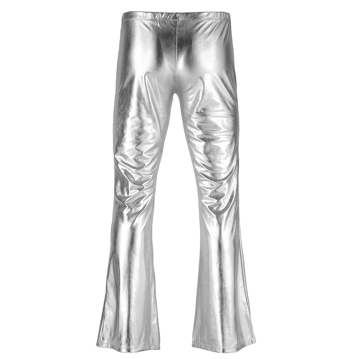 Adult Mens Moto Punk Style Party Pants Shiny Metallic Disco Pants with Bell Bottom Flared Long Pants Dude Costume Trousers 23