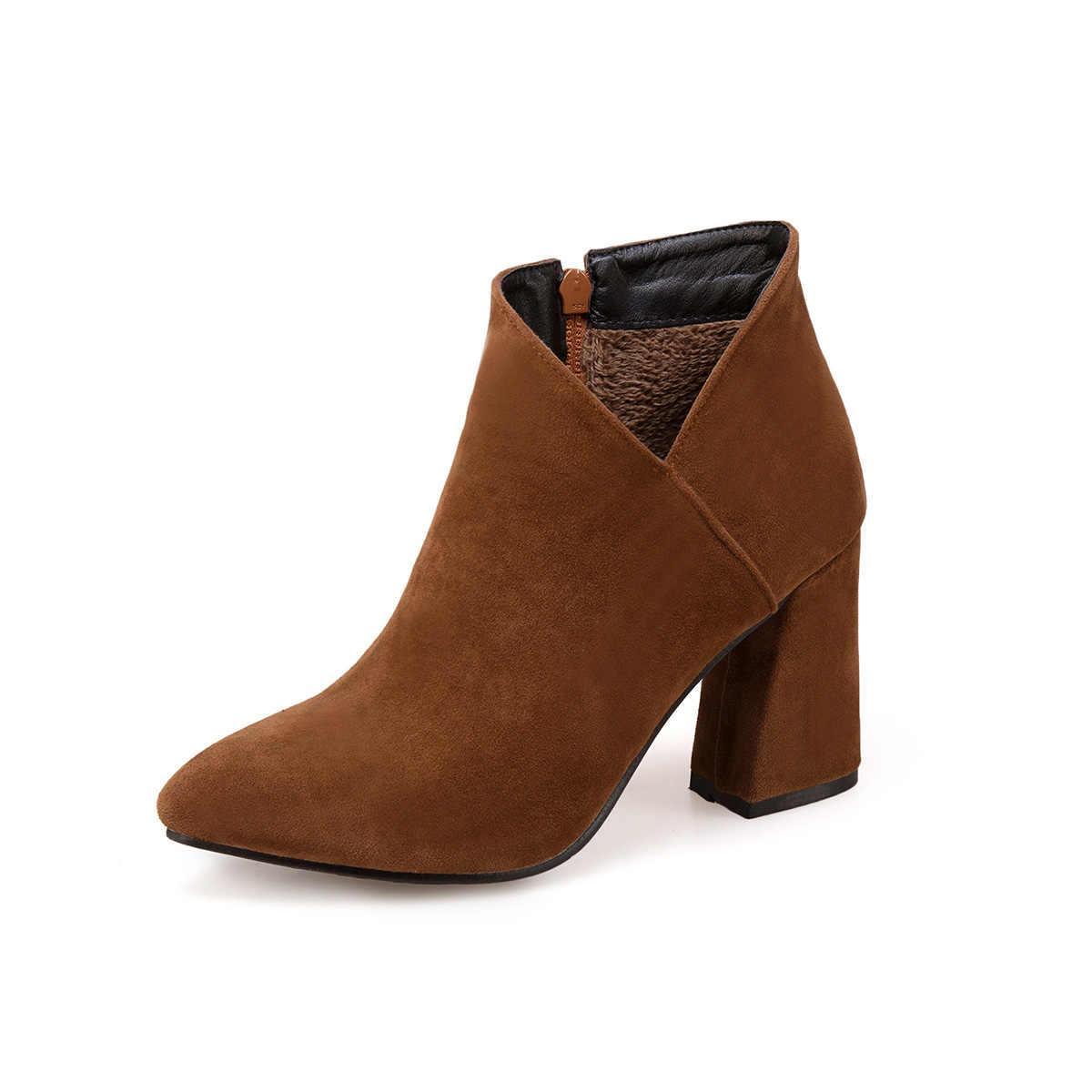 Kadın Akın Deri yarım çizmeler Toynak Topuklu Moda Bootie Zip Sivri Burun Ayak Kış Bayan Ayakkabıları Bej Siyah Sarı Drop Shipping