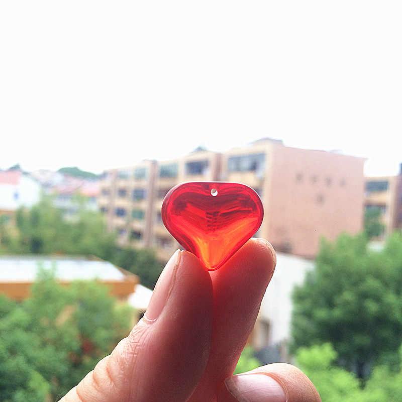 Бесплатная доставка 20 шт 22*22 мм модные красные стеклянный в форме сердца Гладкие бусины для Diy хрустальные подвески для люстры