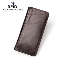 RFID BLOCKING 100 Genuine Leather Man Long Wallets Famous Brand High Quality Cow Leather Wallet Business