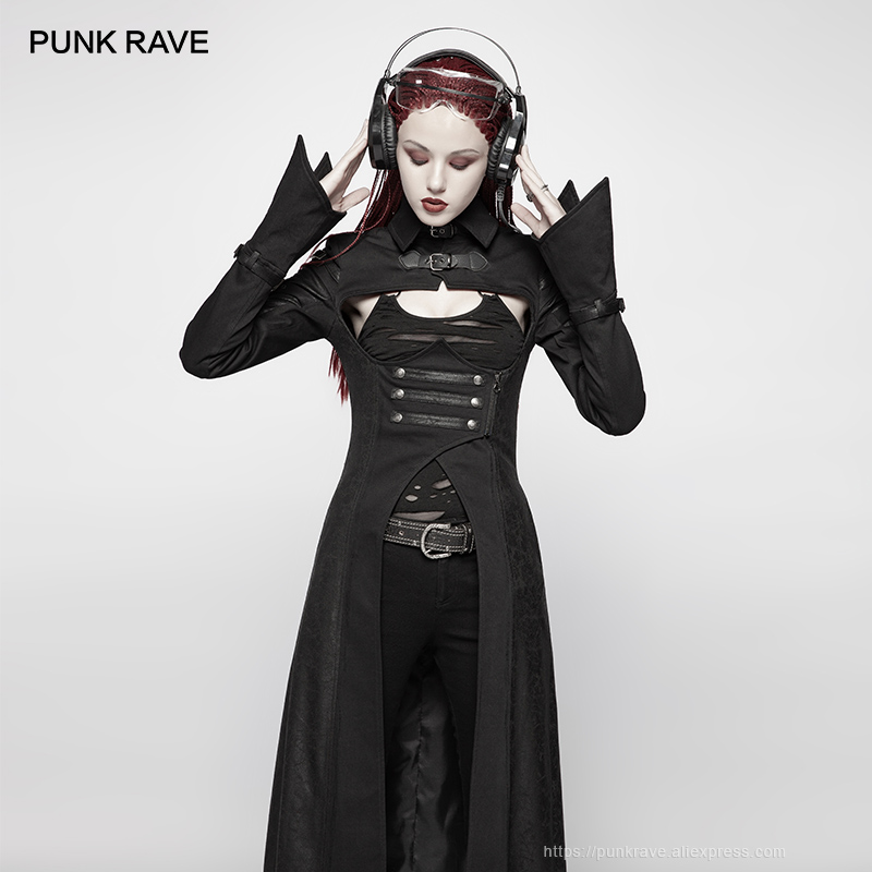 PUNK RAVE New Gothic Post Apocalyptic Military Black Open Bust Long sleeved Women Jacket Punk Futuristic Personality Long Coat