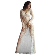 Women Sexy Lace Embroidery Maxi White Floor-length dress Deep V Long Sleeves feminino vestidos smock crochet Dress