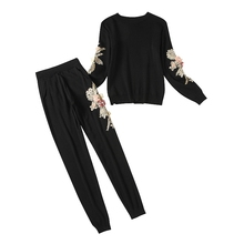 hot deal buy alphalmoda flowers knitting clothing sets women winter 3d floral jumpers slim trousers winter vogue fashion tracksuits sets