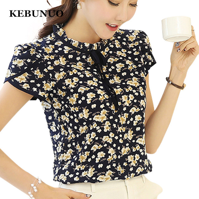 1018bb98b79dde Women Summer Tops Chiffon Blouses And Shirts Ladies Floral Print Feminine  Blouse Short Sleeve Blusas Femme Plus Size Tops Female